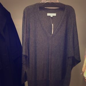 NWT Ann Taylor LOFT Gray V-neck Sweater Dress Sz M